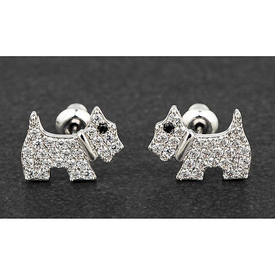 Platinum Plated 'Westie' Stud Earrings