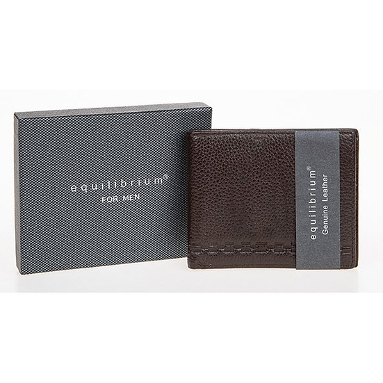 EQ for man embossed brown leather wallet