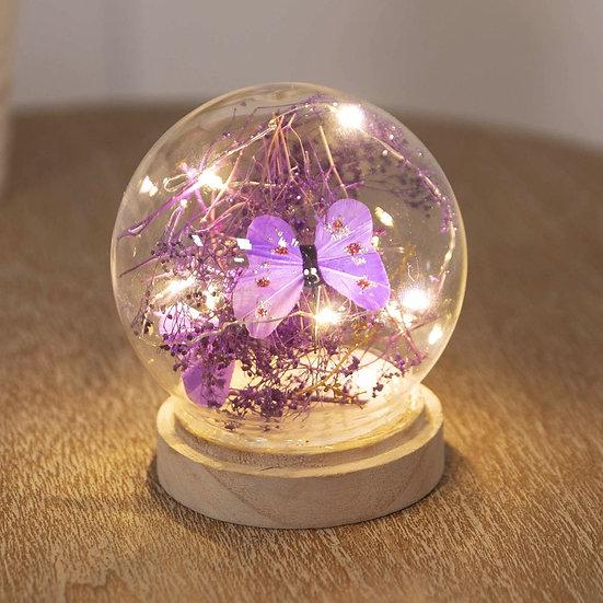 LED Light Up Glass Orb - Purple Butterfly