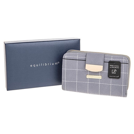 Stitched Squares Purse - Grey