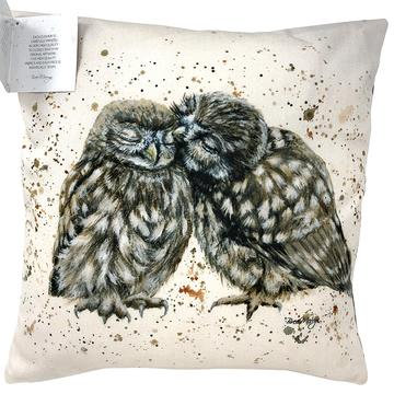 Posh and Pecks Kissing Owls Luxury Feather Cushion - Bree Merryn