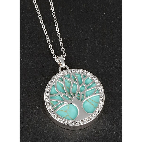Turquoise Silver Plated Tree Of Life Necklace