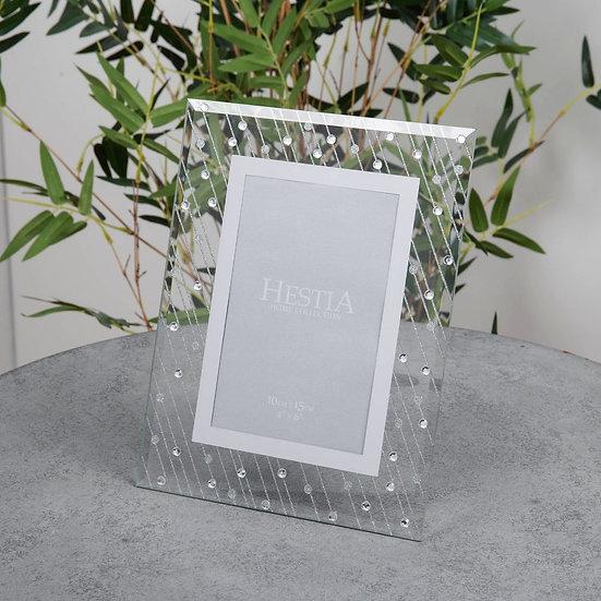 "4"" x 6"" Mirror Glass Raindrop Design Photo Frame"