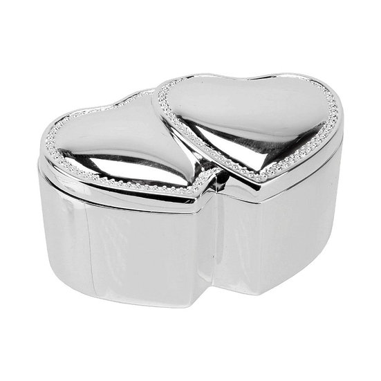 Silver Plates Entwined Hearts Trinket Box