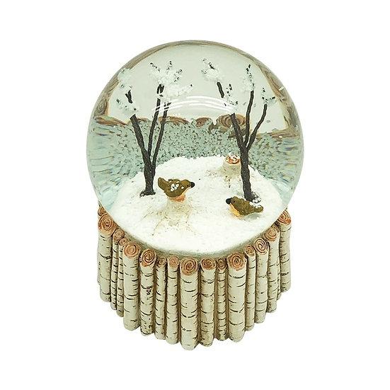 Birds In Trees Snowglobe with Birch Base