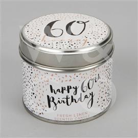 60th Birthday Tin Candle