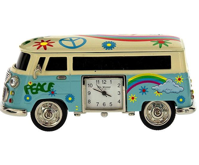 Blue Camper Van Miniature Desk Clock