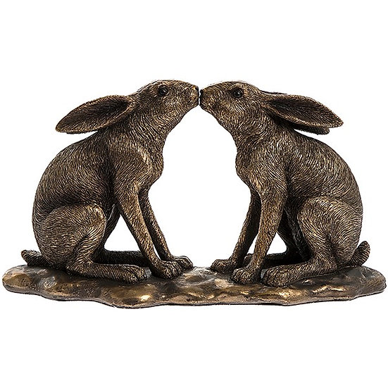 Bronze Effect Kissing Hares Ornament