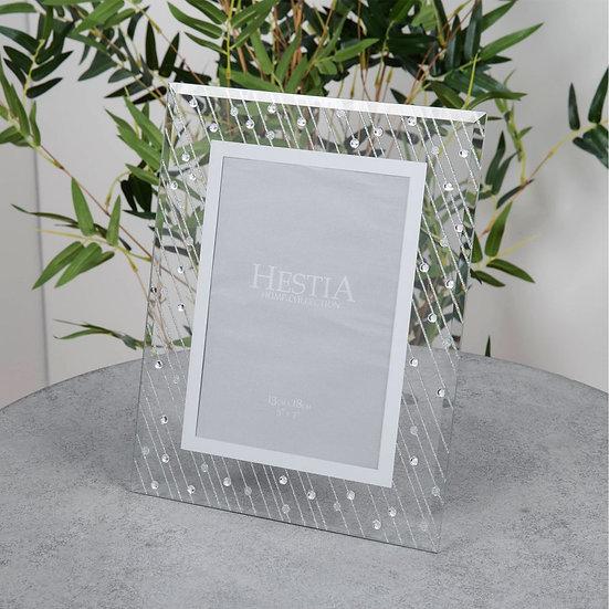 "5"" x 7"" Mirror Glass Raindrop Design Photo Frame"