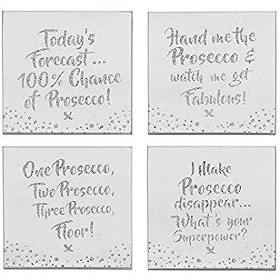 Set of 4 Glass 'Prosecco' coasters