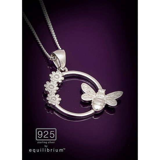 Sterling 925 Silver Necklace - Flowers & Bee