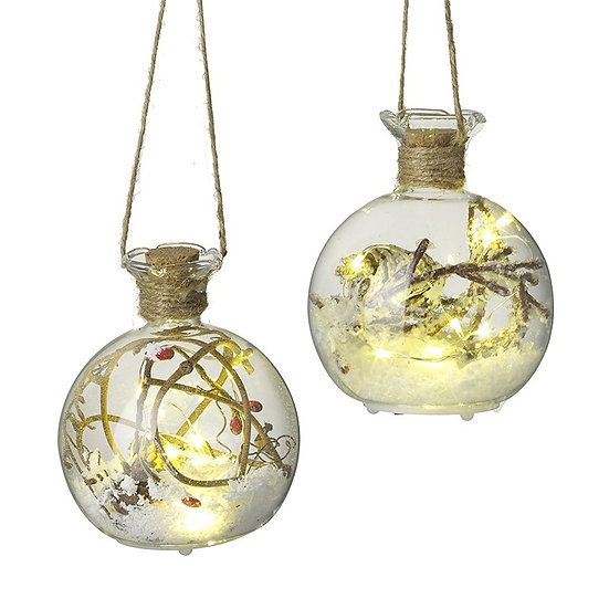 Light Up Snowy Glass Bauble