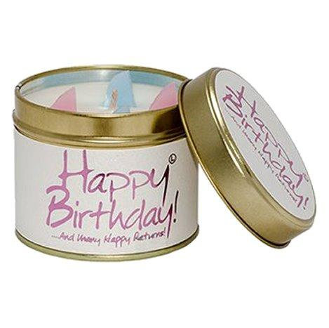 Lily Flame Happy Birthday Tin Candle