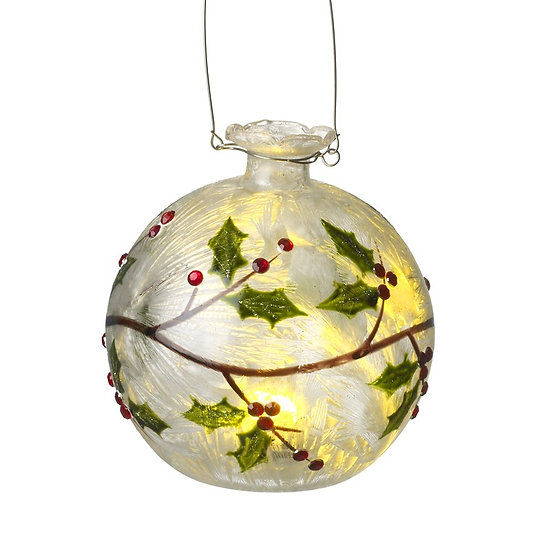 Light Up Glass Bauble with Decorative Holly