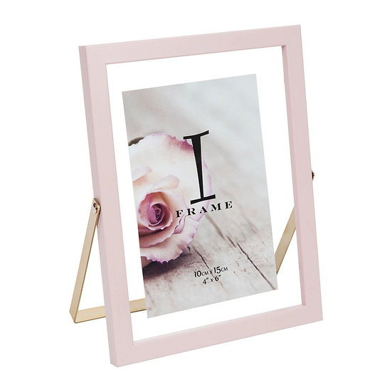 """4"""" x 6"""" iFrame Pink Floating Frame with Gold Metal Stand"""