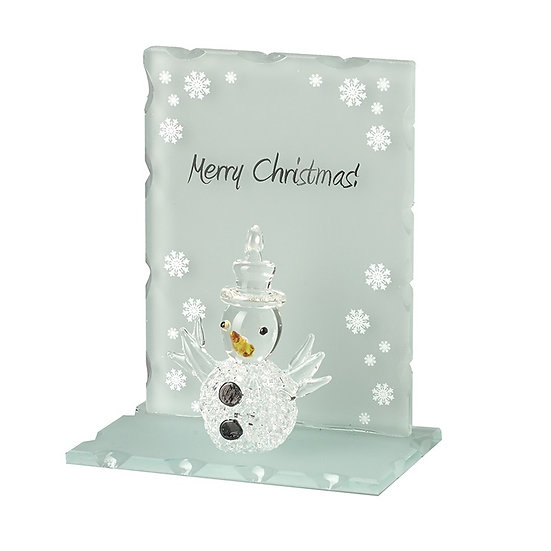 Glass Snowman on Merry Christmas Stand