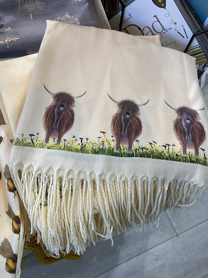 Cashmere Blend Highland Cow Scarf - White