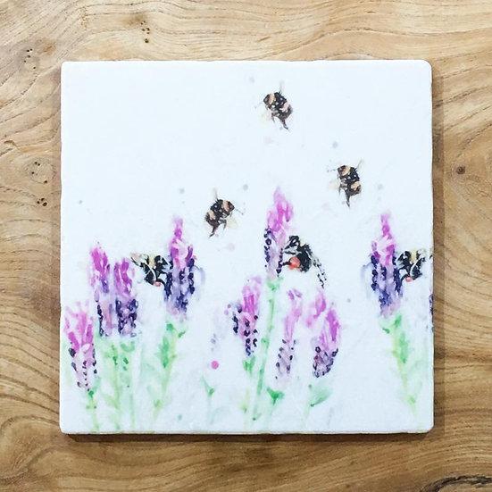 Beeing Around Lavender Marble Trivet