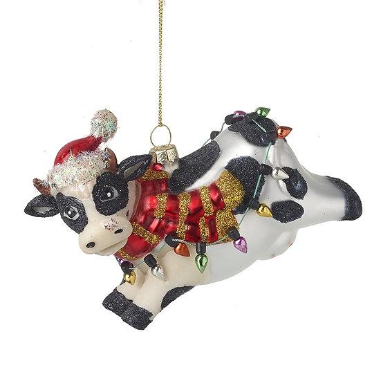 Glass Hanging Christmas Cow