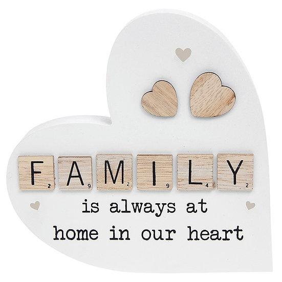 Scrabble Sentiment Standing Heart - Family