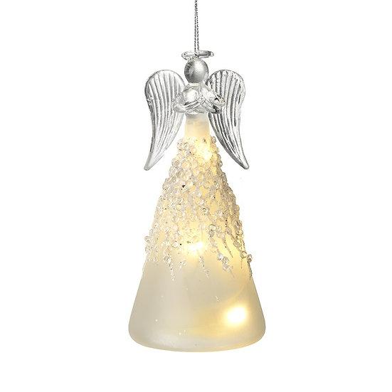 Light Up Glass Angel Tree Decoration