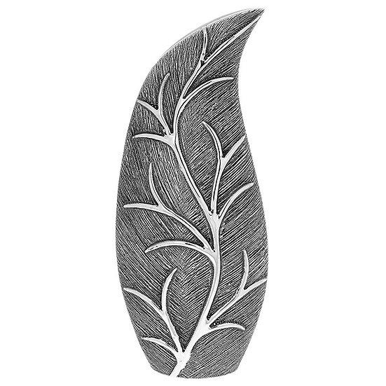 Gunmetal Leaf Design Slender Vase