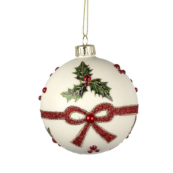 White Glass Bauble with Holly design