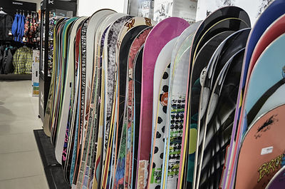 Stack of Snowboards