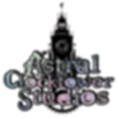 Indie game studio Astral Clocktower Studios galaxy text loo with clocktower