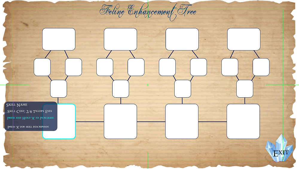 Menu UI mockup design for the enhancement tree in Kristala, an indie fantasy action RPG produced by Astral Clocktower Studios