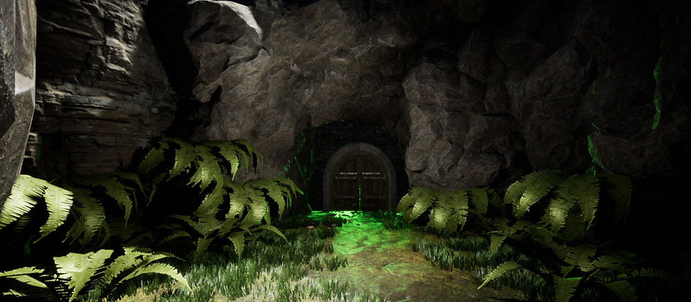 Exterior door to a cave featured in the demo for Kristala, a fantasy action RPG developed by Astral Clocktower Studios