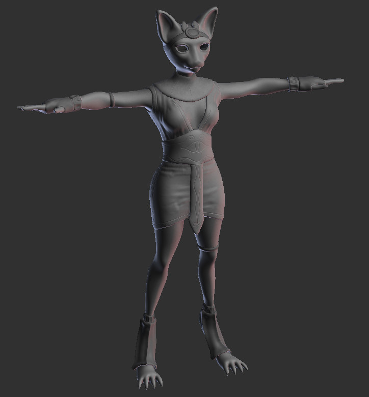 3D character model for the Sykomana clan's female main character in indie fantasy action RPG, Kristala
