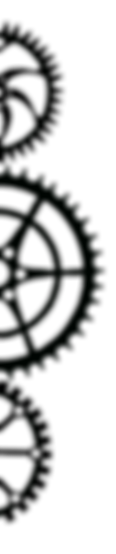 Astral Clocktower Studios brand decorative, right-facing triple gear graphic