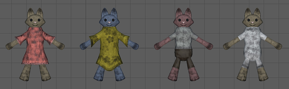 Front view of Anagativa toy dolls created for the Dalamese' demo level for Kristala, a 3D action RPG developed by ACS Games