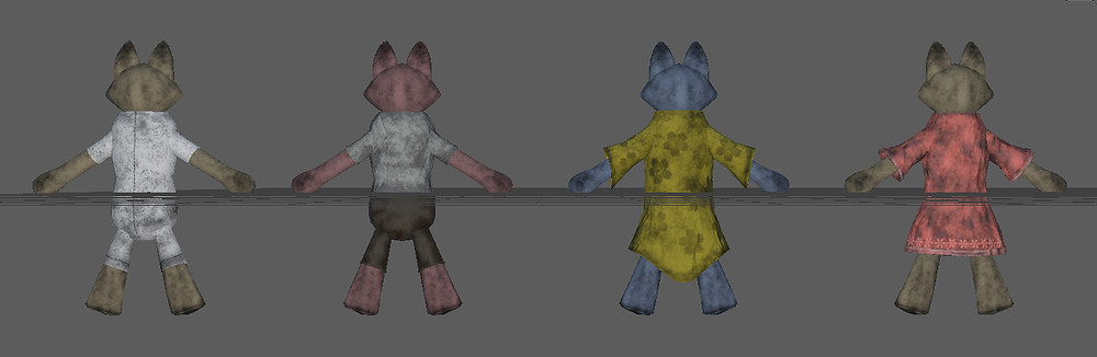 Back view of Anagativa toy dolls created for the Dalamese' demo level for Kristala, a 3D action RPG developed by ACS Games