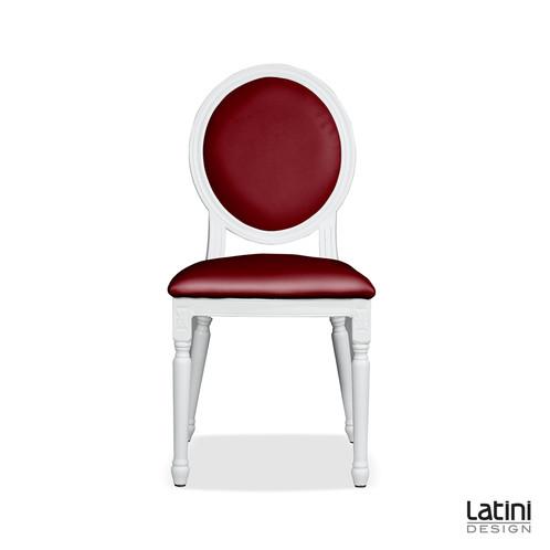 Sedia luigi xvi bianca cuscini bordeaux latini design for Noleggio arredi roma