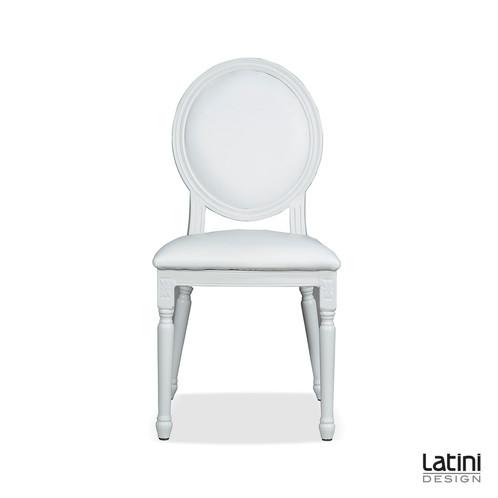 Sedia luigi xvi in ecopelle bianca latini design for Noleggio arredi roma