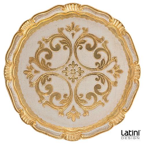 Sottopiatto Hema in legno con decorazione Oro