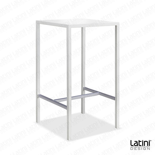 Tavolo alto quadrato Metallic Bianco