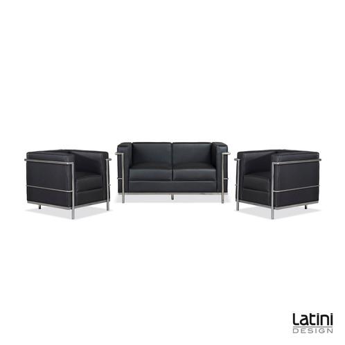 Divano le corbusier 2 posti black latini design noleggio for Noleggio arredi per eventi milano