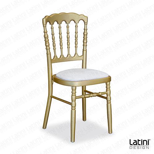 Sedia Napoleon Oro in legno con cuscino Bianco