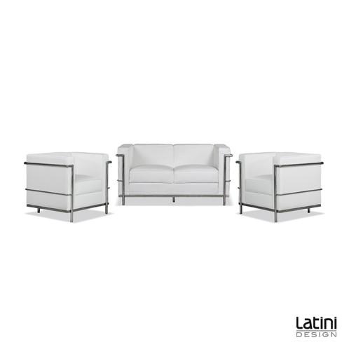 Salotto le corbusier bianco latini design noleggio for Noleggio arredi roma