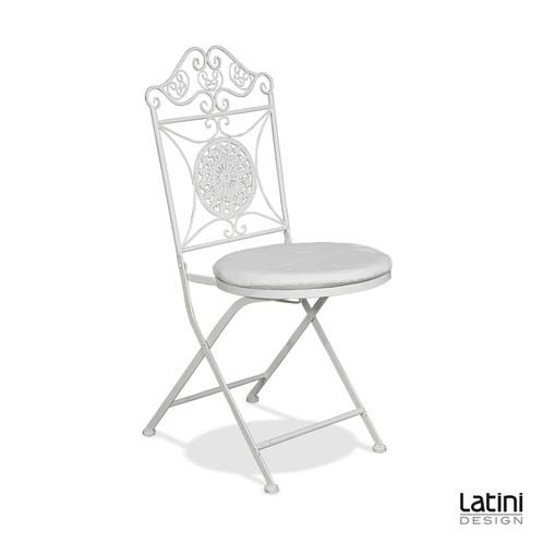 Sedia amanda in ferro battuto bianca con cuscino ecr for Noleggio arredi roma