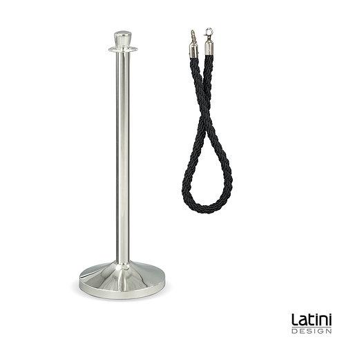 Palina in acciaio Silver con con cordone Nero 2 mt