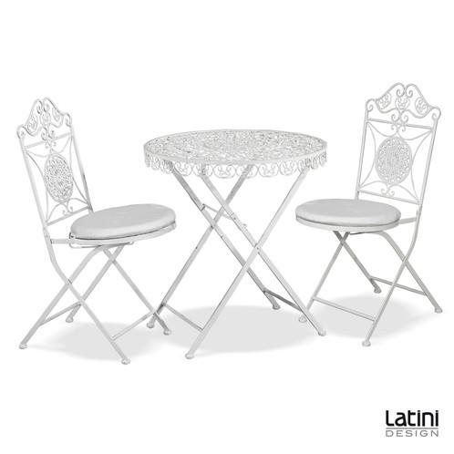 Tavolo tondo in ferro battuto amanda bianco latini for Noleggio arredi roma
