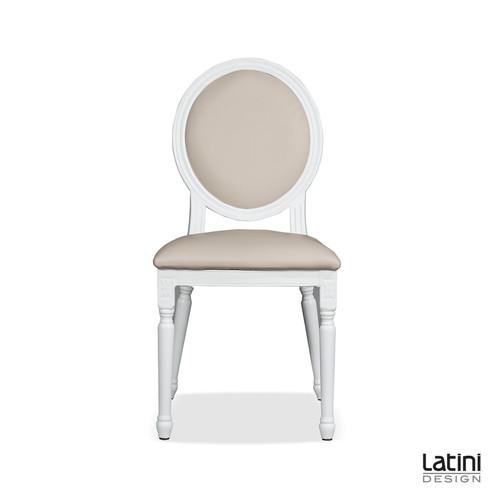 Sedia luigi xvi in ecopelle bianca cuscini tortora for Noleggio arredi per eventi milano