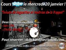 """COURS SKYPE LE MERCREDI 20 JANVIER """"Tenues de baguettes et maîtrise de la frappe!"""""""