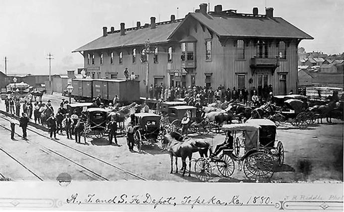 rail depot, Topeka, 1880