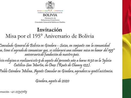 Invitación a Misa por el 195° Aniversario de Bolivia