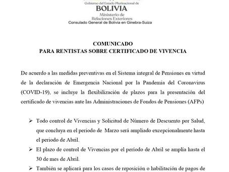 Comunicado para rentistas: Certificados de vivencia
